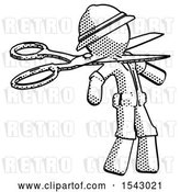 Clip Art of Retro Halftone Explorer Ranger Guy Scissor Beheading Office Worker Execution by Leo Blanchette
