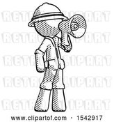 Clip Art of Retro Halftone Explorer Ranger Guy Shouting into Megaphone Bullhorn Facing Right by Leo Blanchette
