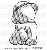 Clip Art of Retro Halftone Explorer Ranger Guy Sitting with Head down Back View Facing Left by Leo Blanchette