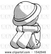 Clip Art of Retro Halftone Explorer Ranger Guy Sitting with Head down Facing Angle Left by Leo Blanchette