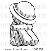 Clip Art of Retro Halftone Explorer Ranger Guy Sitting with Head down Facing Angle Right by Leo Blanchette