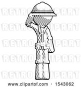 Clip Art of Retro Halftone Explorer Ranger Guy Soldier Salute Pose by Leo Blanchette