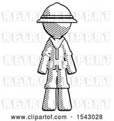 Clip Art of Retro Halftone Explorer Ranger Guy Standing Facing Forward by Leo Blanchette
