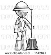 Clip Art of Retro Halftone Explorer Ranger Guy Standing with Broom Cleaning Services by Leo Blanchette
