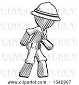 Clip Art of Retro Halftone Explorer Ranger Guy Suspense Action Pose Facing Right by Leo Blanchette