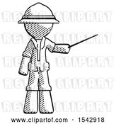 Clip Art of Retro Halftone Explorer Ranger Guy Teacher or Conductor with Stick or Baton Directing by Leo Blanchette