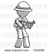 Clip Art of Retro Halftone Explorer Ranger Guy Tommy Gun Gangster Shooting Pose by Leo Blanchette