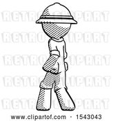 Clip Art of Retro Halftone Explorer Ranger Guy Walking Away Direction Left View by Leo Blanchette
