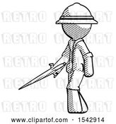 Clip Art of Retro Halftone Explorer Ranger Guy with Sword Walking Confidently by Leo Blanchette