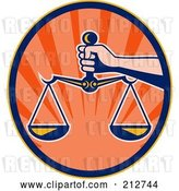 Clip Art of Retro Hand Holding the Scales of Justice by Patrimonio