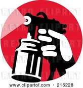 Clip Art of Retro Hand Using a Spray Container on a Red Circle by Patrimonio