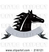 Clip Art of Retro Horse Head over a Blank Banner by Patrimonio