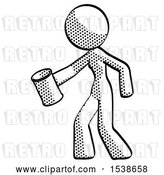 Clip Art of Retro Lady Begger Holding Can Begging or Asking for Charity Facing Left by Leo Blanchette