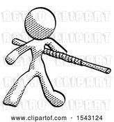 Clip Art of Retro Lady Bo Staff Action Hero Kung Fu Pose by Leo Blanchette