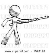 Clip Art of Retro Lady Bo Staff Pointing Right Kung Fu Pose by Leo Blanchette