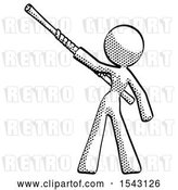 Clip Art of Retro Lady Bo Staff Pointing up Pose by Leo Blanchette