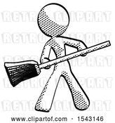 Clip Art of Retro Lady Broom Fighter Defense Pose by Leo Blanchette
