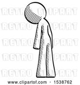 Clip Art of Retro Lady Depressed with Head Down, Back to Viewer, Left by Leo Blanchette
