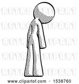 Clip Art of Retro Lady Depressed with Head Down, Back to Viewer, Right by Leo Blanchette