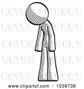 Clip Art of Retro Lady Depressed with Head down Turned Left by Leo Blanchette