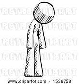 Clip Art of Retro Lady Depressed with Head down Turned Right by Leo Blanchette