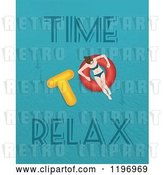 Clip Art of Retro Lady Floating on an Inner Tube with Time to Relax Text by Eugene
