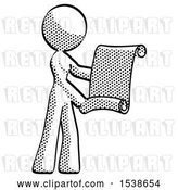 Clip Art of Retro Lady Holding Blueprints or Scroll by Leo Blanchette