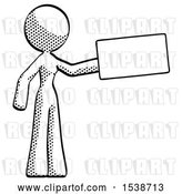 Clip Art of Retro Lady Holding Large Envelope by Leo Blanchette