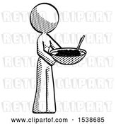 Clip Art of Retro Lady Holding Noodles Offering to Viewer by Leo Blanchette
