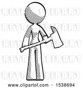 Clip Art of Retro Lady Holding Red Fire Fighter's Ax by Leo Blanchette