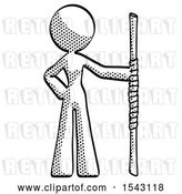 Clip Art of Retro Lady Holding Staff or Bo Staff by Leo Blanchette