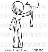 Clip Art of Retro Lady Holding up Red Fireman's Ax by Leo Blanchette
