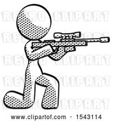 Clip Art of Retro Lady Kneeling Shooting Sniper Rifle by Leo Blanchette
