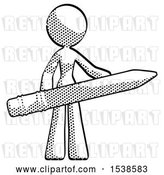Clip Art of Retro Lady Office Worker or Writer Holding a Giant Pencil by Leo Blanchette