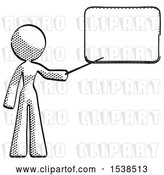 Clip Art of Retro Lady Pointing at Dry-erase Board with Stick Giving Presentation by Leo Blanchette