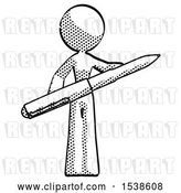 Clip Art of Retro Lady Posing Confidently with Giant Pen by Leo Blanchette