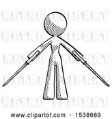 Clip Art of Retro Lady Posing with Two Ninja Sword Katanas by Leo Blanchette
