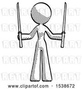 Clip Art of Retro Lady Posing with Two Ninja Sword Katanas up by Leo Blanchette