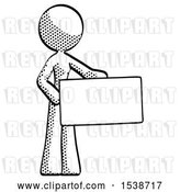 Clip Art of Retro Lady Presenting Large Envelope by Leo Blanchette