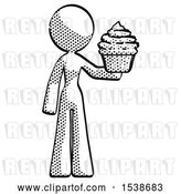 Clip Art of Retro Lady Presenting Pink Cupcake to Viewer by Leo Blanchette