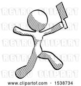 Clip Art of Retro Lady Psycho Running with Meat Cleaver by Leo Blanchette
