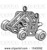 Clip Art of Retro Lady Riding Sports Buggy Side Top Angle View by Leo Blanchette