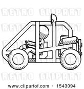 Clip Art of Retro Lady Riding Sports Buggy Side View by Leo Blanchette
