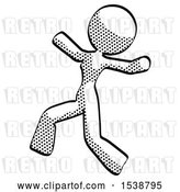 Clip Art of Retro Lady Running Away in Hysterical Panic Direction Left by Leo Blanchette
