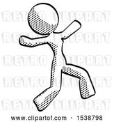 Clip Art of Retro Lady Running Away in Hysterical Panic Direction Right by Leo Blanchette