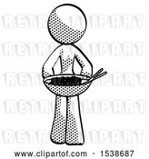 Clip Art of Retro Lady Serving or Presenting Noodles by Leo Blanchette