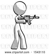 Clip Art of Retro Lady Shooting Automatic Assault Weapon by Leo Blanchette