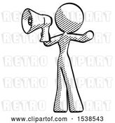Clip Art of Retro Lady Shouting into Megaphone Bullhorn Facing Left by Leo Blanchette
