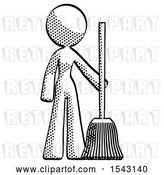 Clip Art of Retro Lady Standing with Broom Cleaning Services by Leo Blanchette