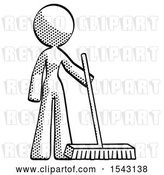 Clip Art of Retro Lady Standing with Industrial Broom by Leo Blanchette